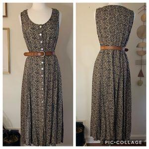 Vintage leopard print, button front maxi dress